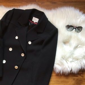LOFT Black Pea Coat with White Buttons